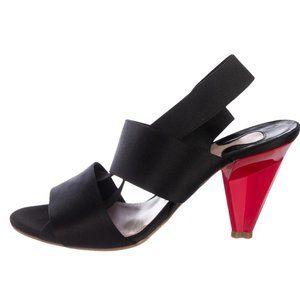 Chloe Black Satin Slingback Sandals Size 39 US 9